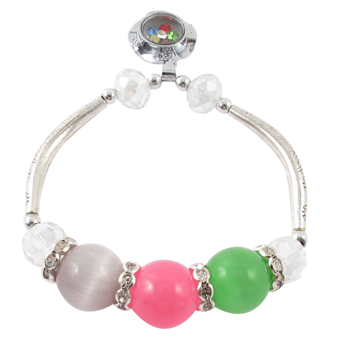 Lady Faux Cat Eyes Stone Adornment Pendant Stretchy Bracelet Green Pink Purple