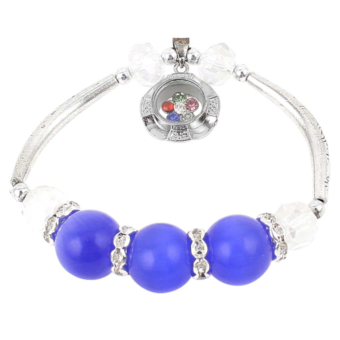 Lady Flower Pendant Decor Elastic Round Beads Lucky Bracelet Bangle Silver Tone Blue