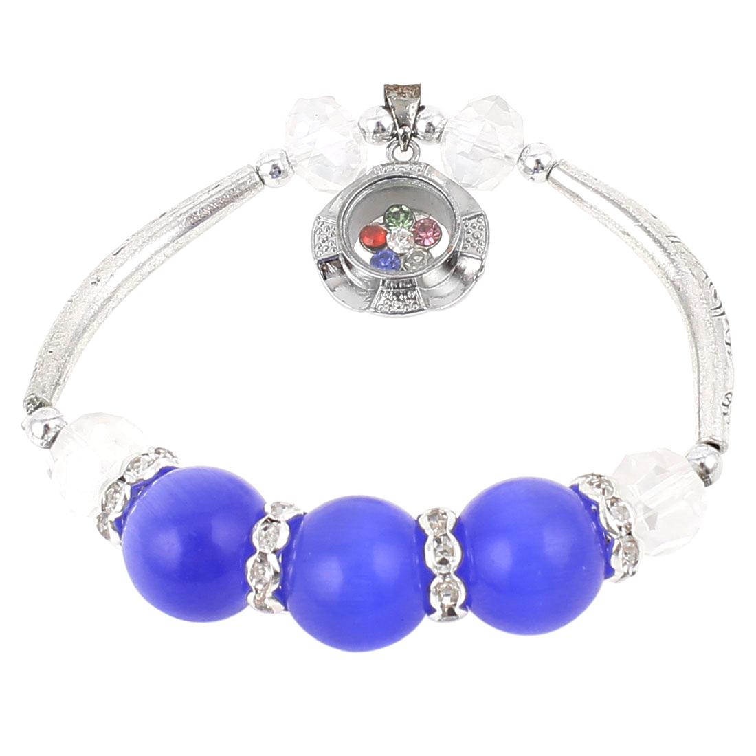 Lady Flower Pendant Decor Elastic Round Beads Lucky Bracelet Bangle Silver Tone Blue