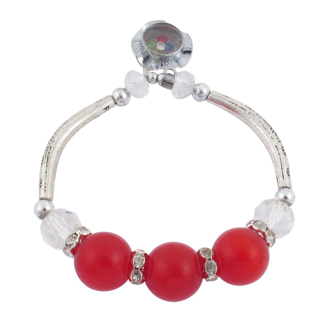 Lady Red Faux Cat Eyes Stone Accent Rhinestone Inlaid Pendant Elastic Wrist Bracelet