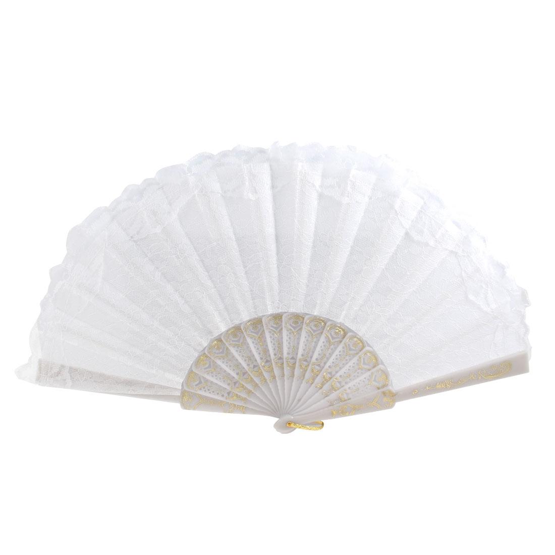 Lady Flower Pattern Lace Rim Decor Folding Dancing Hand Fan White