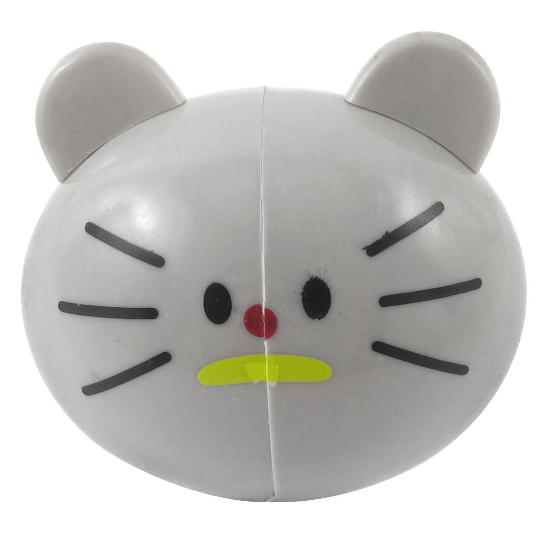 Bathroom Wall Rack Gray Cartoon Cat Head Toothbrush Holder Mount w Suction Grip