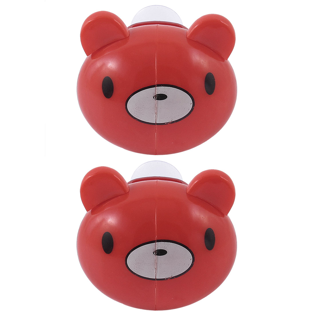 2 Pcs Bathroom Wall Rack Red Cartoon Bear Toothbrush Holder with Suction Grip