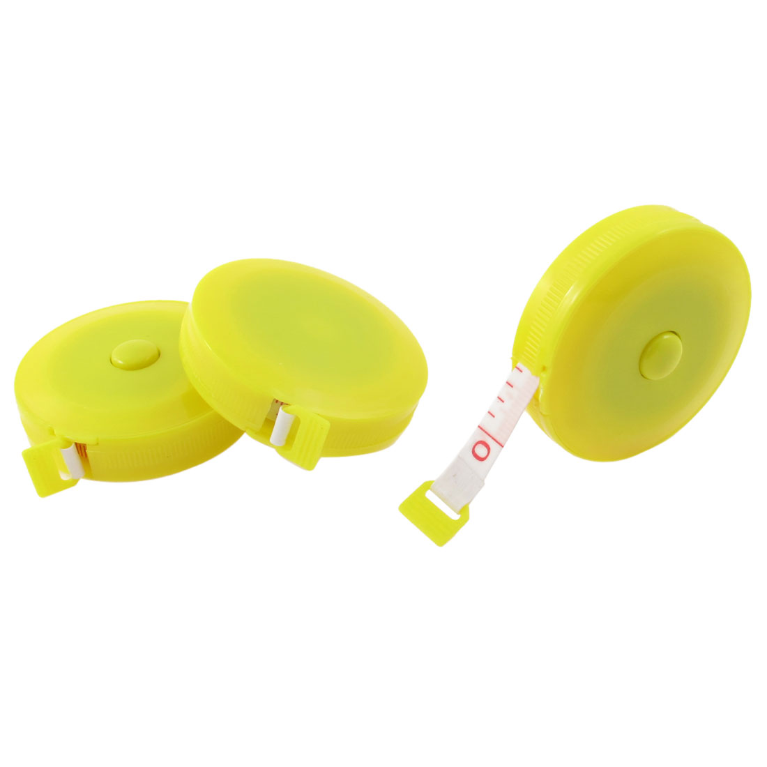 3 Pcs Yellow Round Retractable Tailors Sewing Measuring Tape Ruler 150cm 45cun