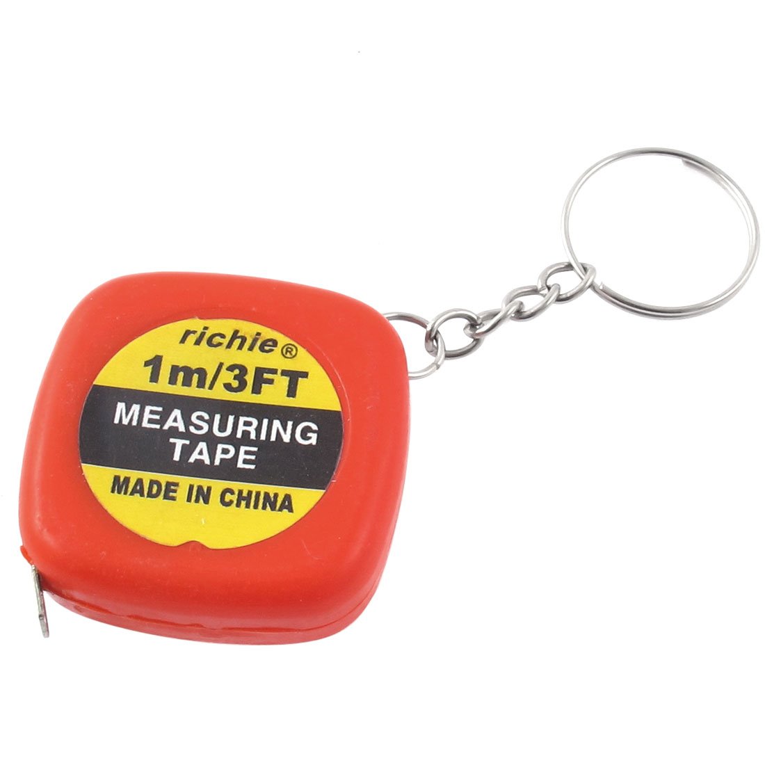Red Square Keyring Retractable Steel Ruler Mini Tape Measure Tool 1M/3Ft