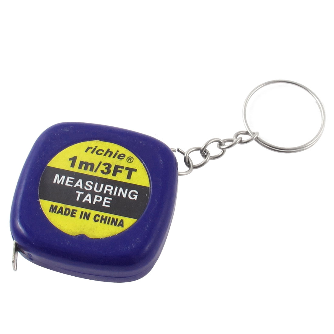 Blue Square Keychain Retractable Steel Ruler Mini Tape Measure 1M/3Ft/40Inch