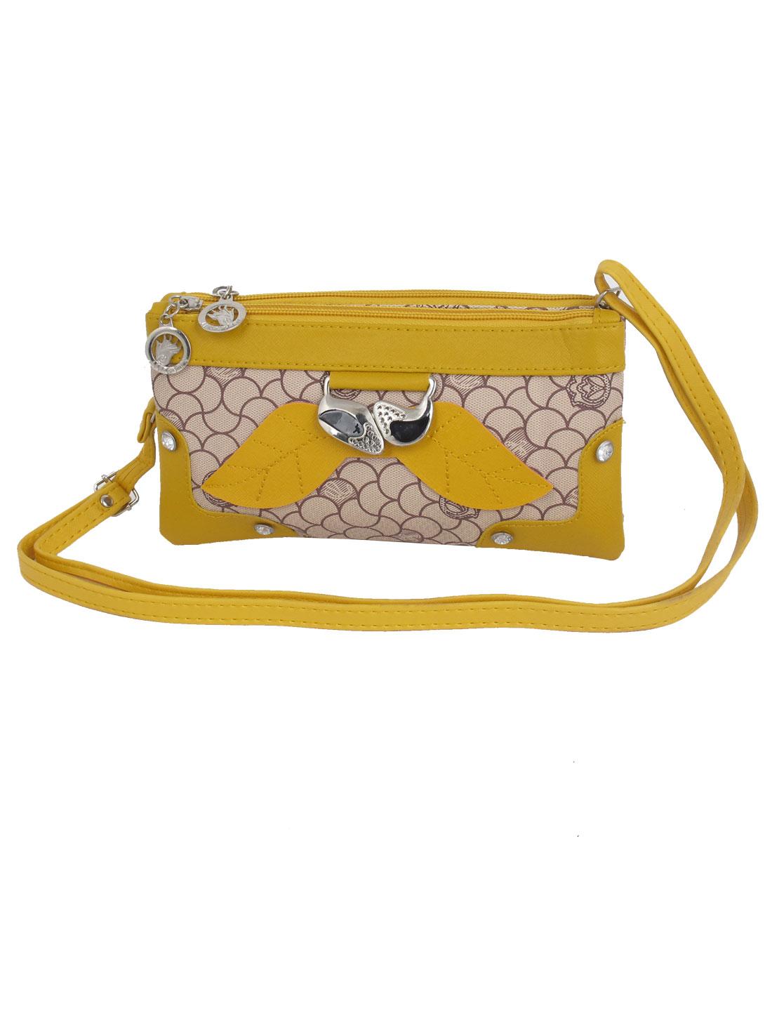 Lady Faux Leather Double Zipper Shoulder Messenger Bag Handbag Yellow Gray