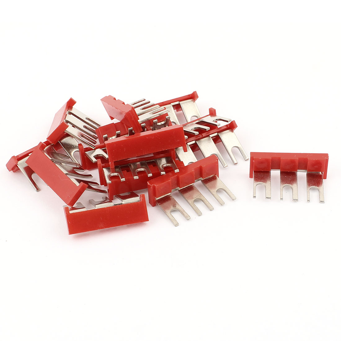 660V 24A 3-Position Red Pre Insulated Fork Terminal Jumper Strip 15pcs