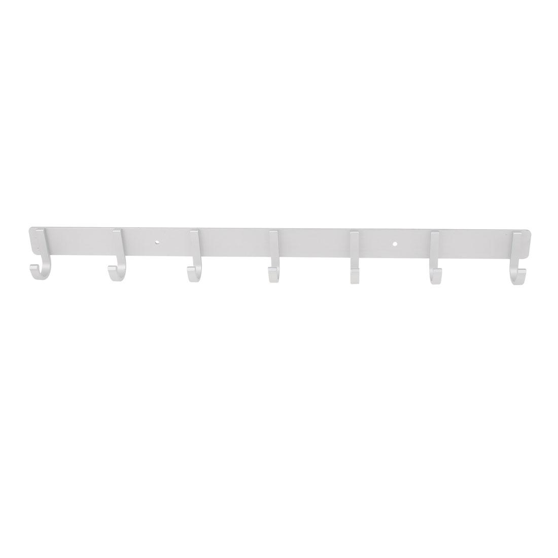 Bathroom Aluminium 7 Hooks Towel Coat Clothes Wall Hanger Rack Silver Tone