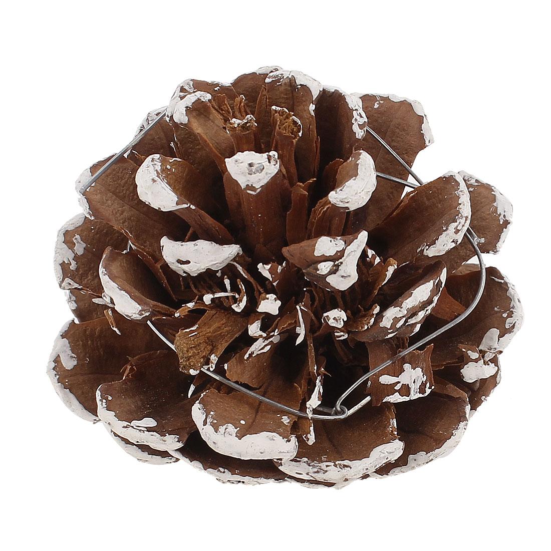 Pine Cone Christmas Xmas Tree Hanging Ornament 5.8cm Dia Brown White