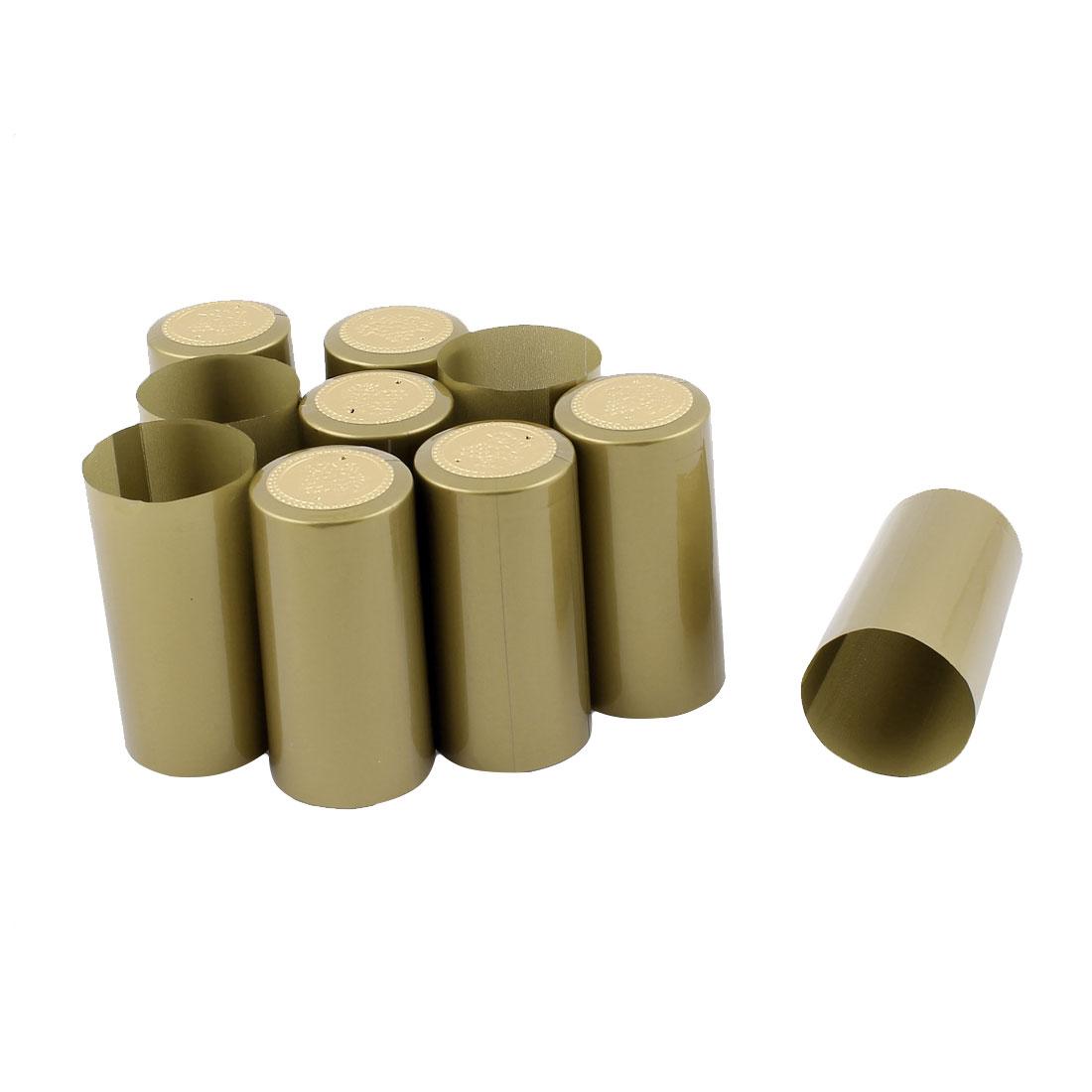 Winery Wine Bottle PVC Heat Shrink Caps Capsules Gold Tone 10 PCS