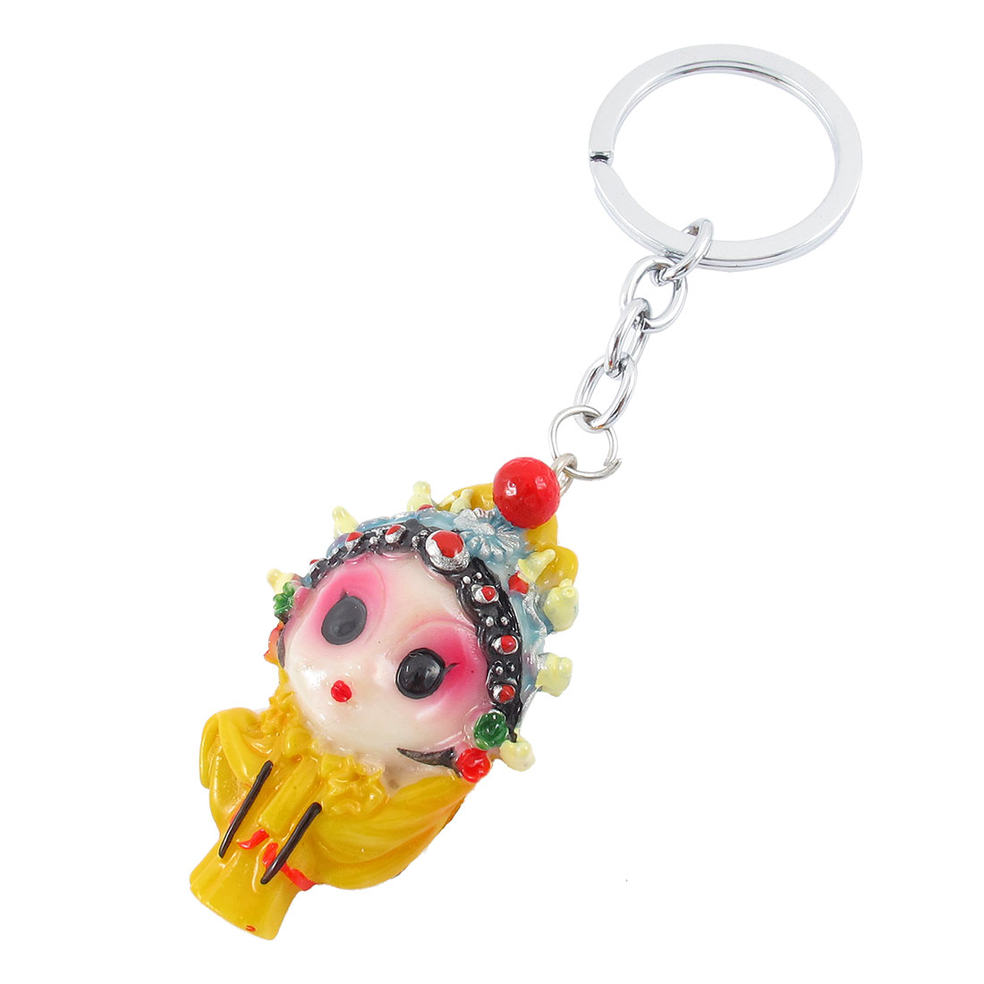 11cm Long Woman Character Peking Opera Facial Makeup Pendant Keychain Yellow
