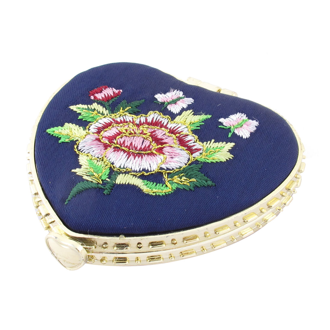 Heart Shape Embroidered Flower Pattern Mini Pocket Makeup Cosmetic Mirror Black