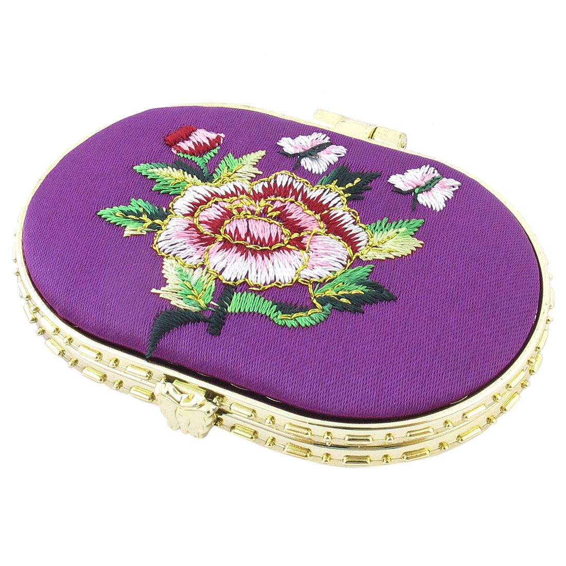 Oval Shape Embroidered Flower Pattern Mini Pocket Makeup Cosmetic Mirror Purple