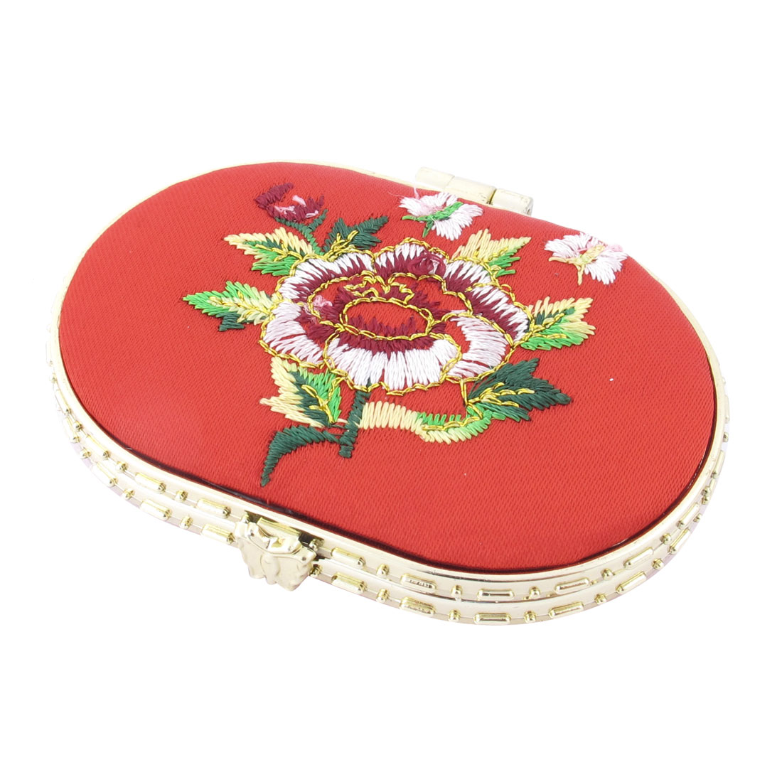 Oval Shape Embroidered Flower Pattern Mini Pocket Makeup Cosmetic Mirror Red