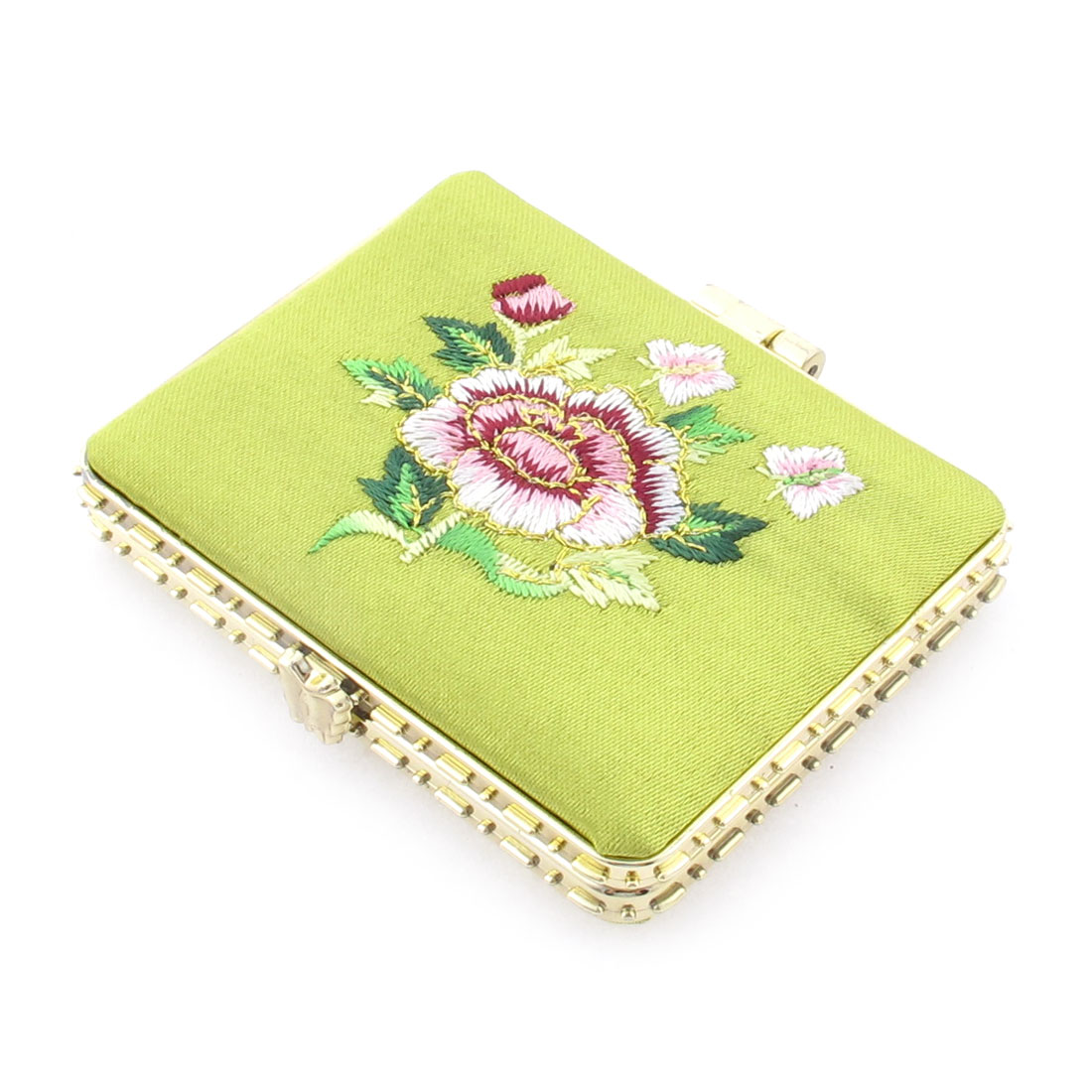 Rectangle Shape Embroidered Flower Pattern Mini Pocket Makeup Cosmetic Mirror Yellow