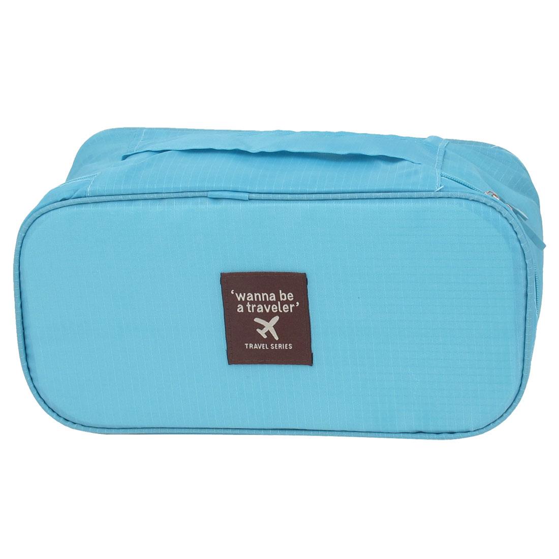 Lady Travel Cosmetic Towel Underwear Bra Toiletry Wash Bag Handbag Sky Blue