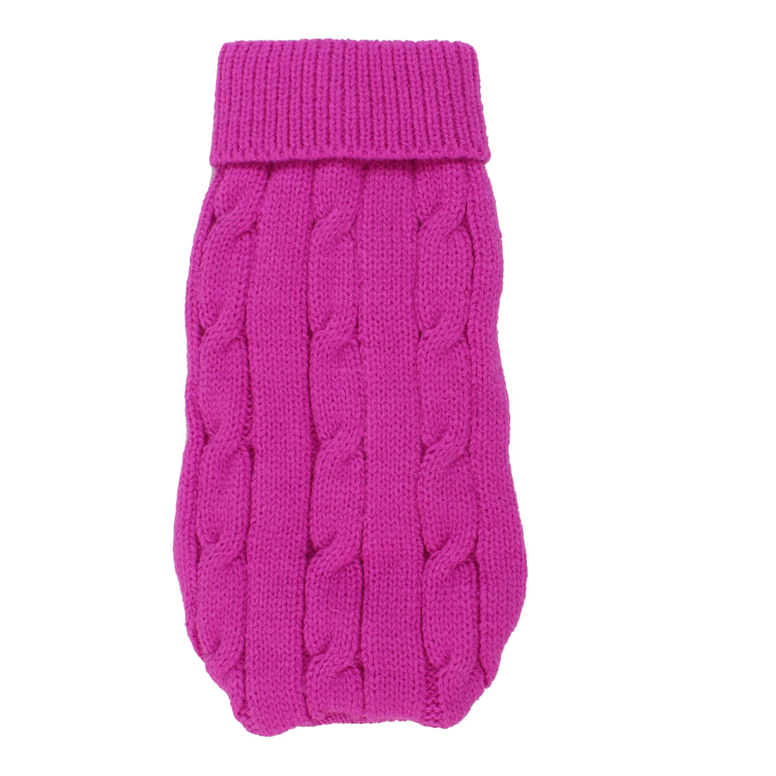 Pet Chihuahua Acrylic Twisted Knit Ribbed Hem Turtleneck Apparel Sweater Fuchsia Size 10