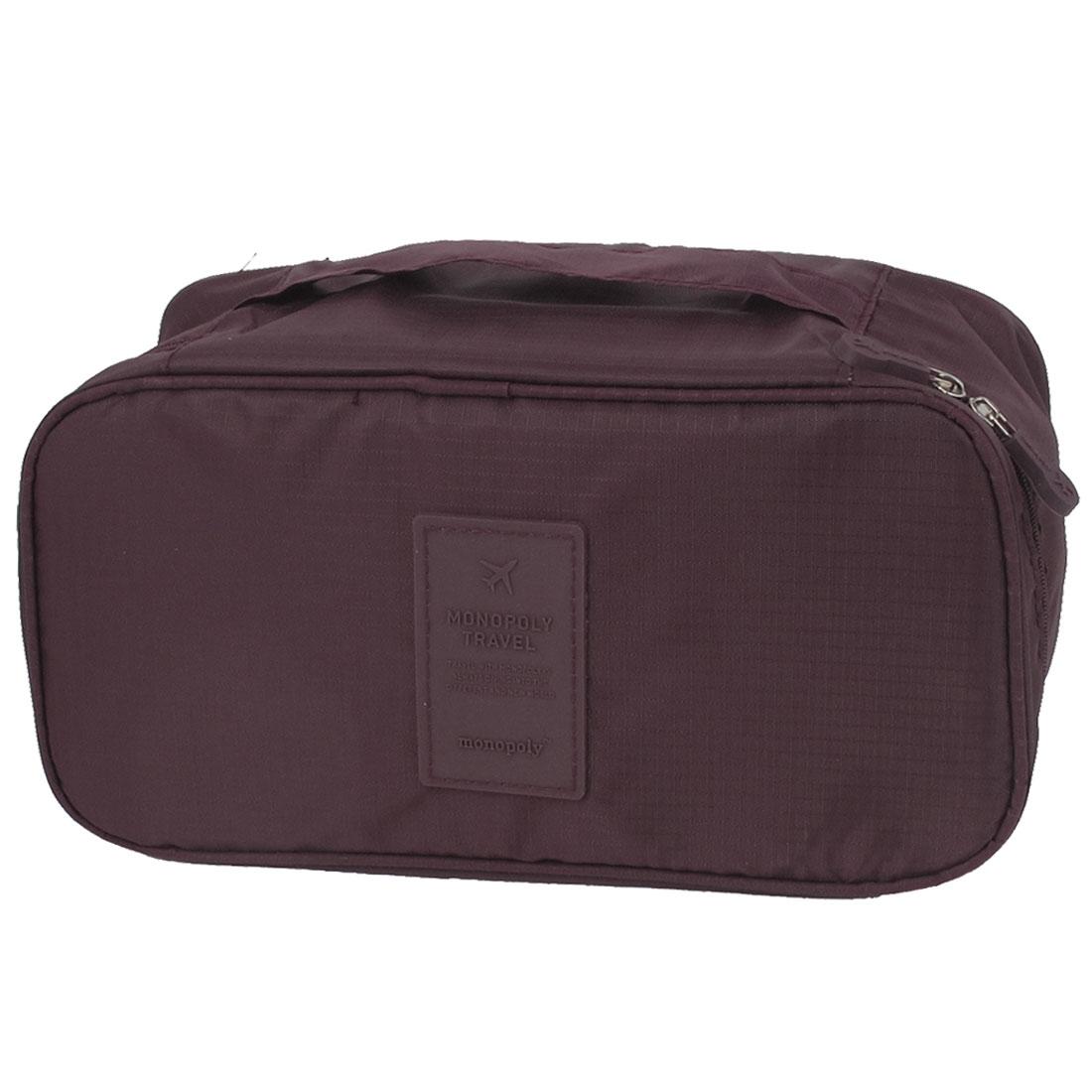Women Travel Makeup Towel Underwear Bra Toiletry Wash Bag Handbag Burgundy