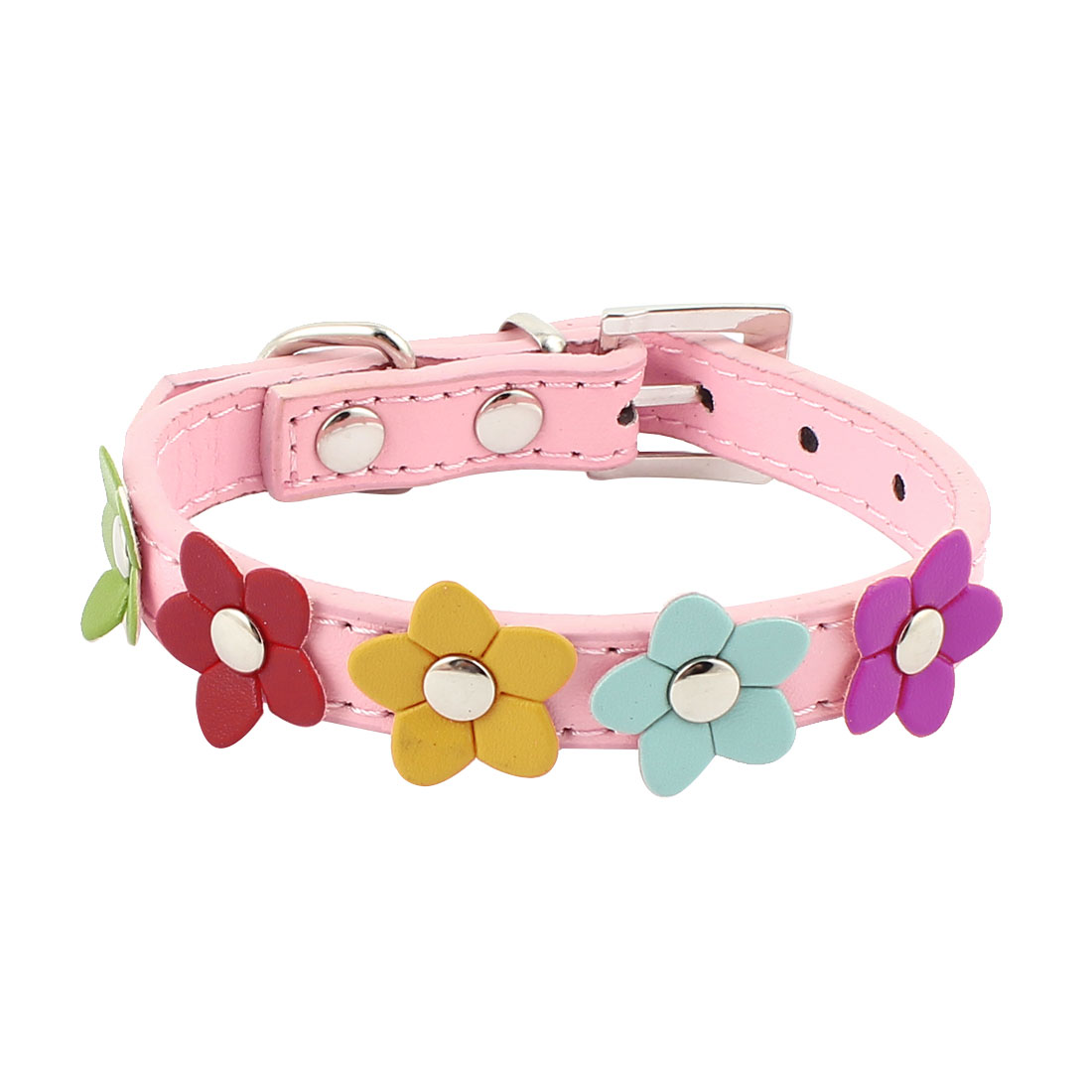 Puppy Faux Leather Adjustable Buckle Pet Dog Neck Collar Belt Strap Pink Size XS