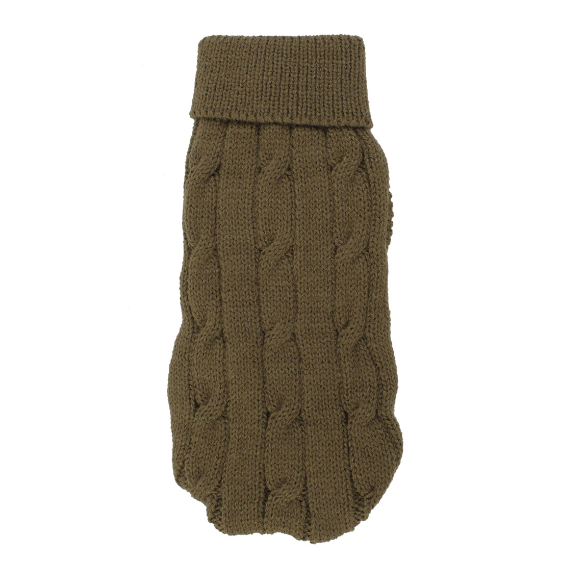 Pet Chihuahua Twisted Knit Ribbed Cuff Turtleneck Apparel Sweater Brown Size 8