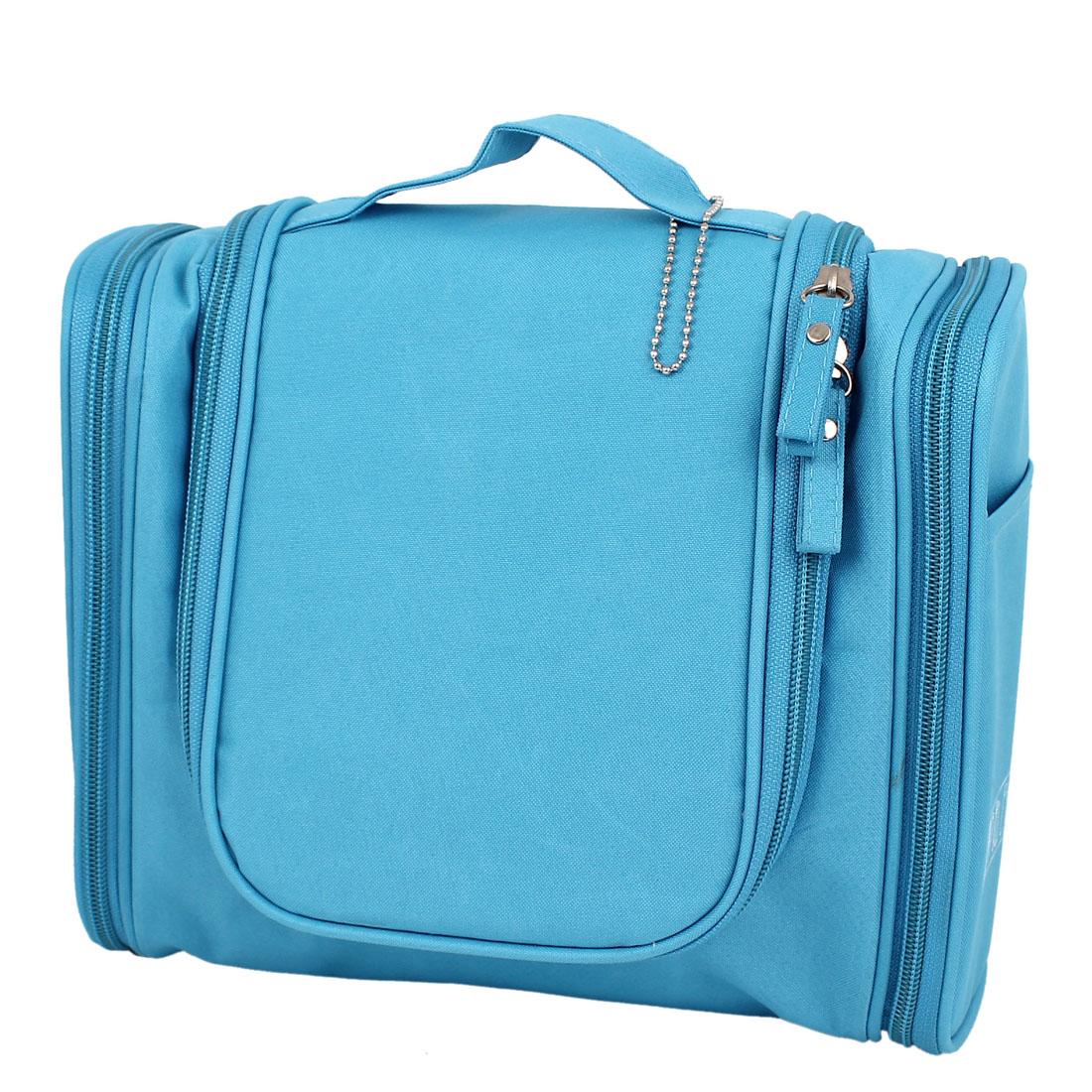 Lady Travel Cosmetic Toiletry Toiletries Hanging Storage Wash Bag Handbag Blue