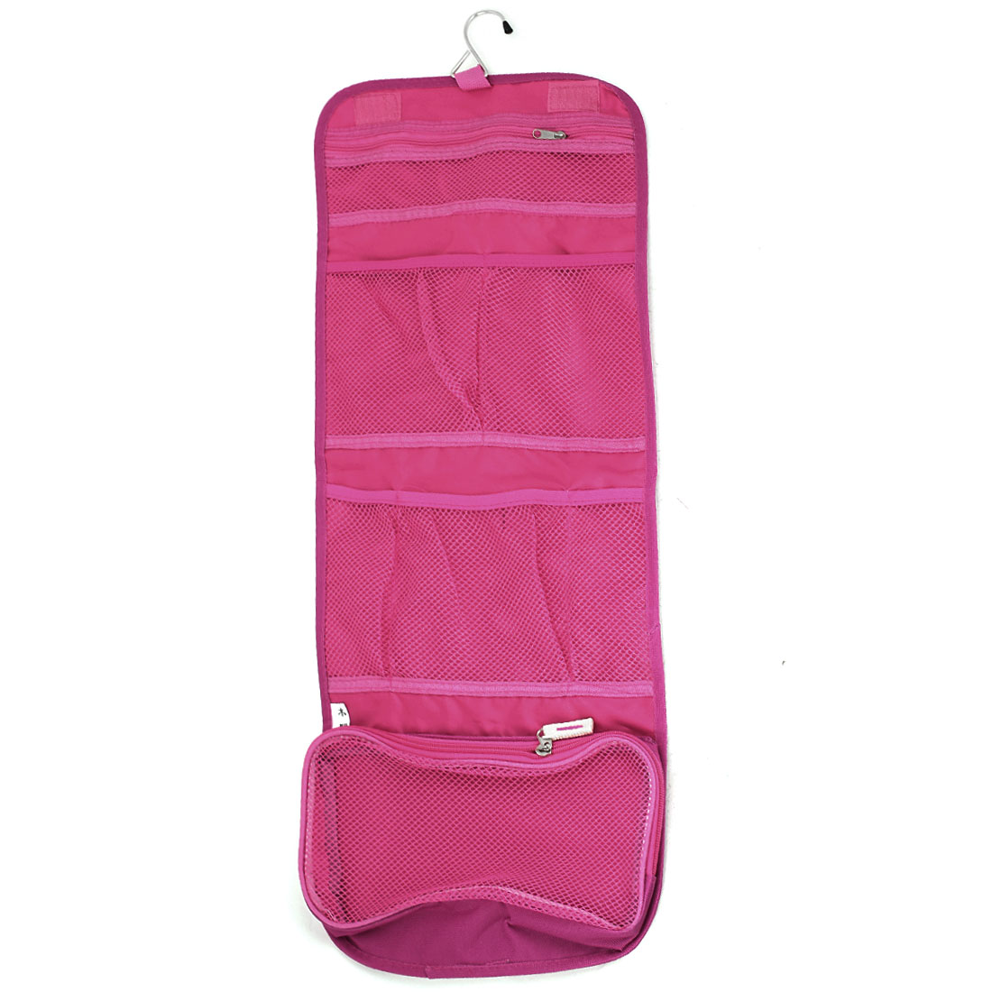 Travel Toiletry Toiletries Cosmetic Beauty Hanging Foldable Wash Bag Fuchsia