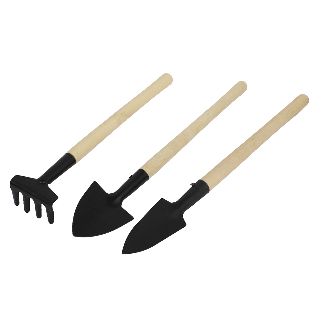 Garden Plant Wooden Handle Shovel Rake Spade Gardening Hand Tools Set 3pcs