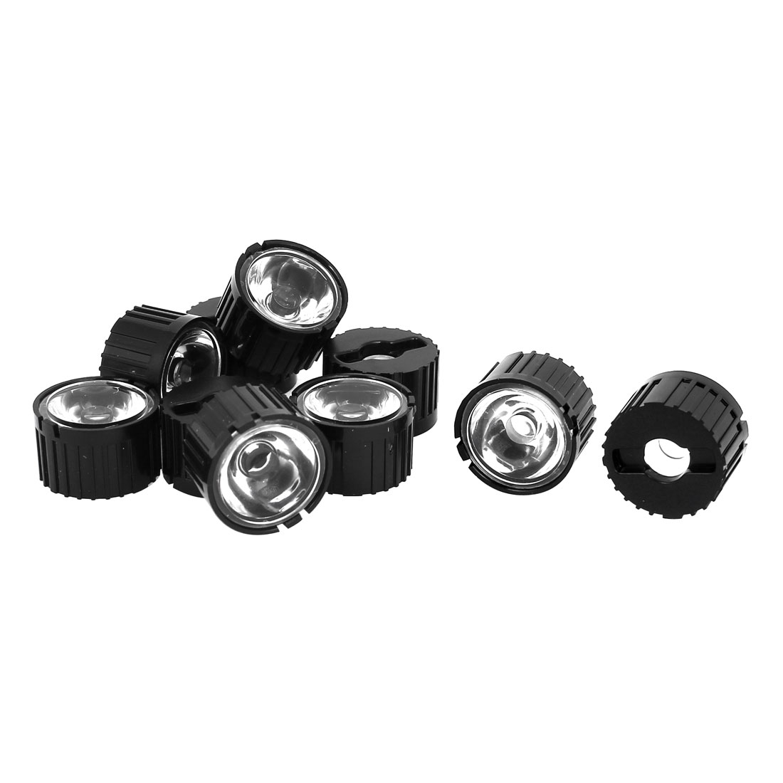 10 Pcs 60 Degree Wide Angle Condenser Light LED Optical Lens w Black Holder