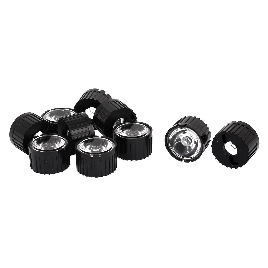 10 Pcs 25 Degree View Angle Condenser Light LED Optical Lens w Black Holder