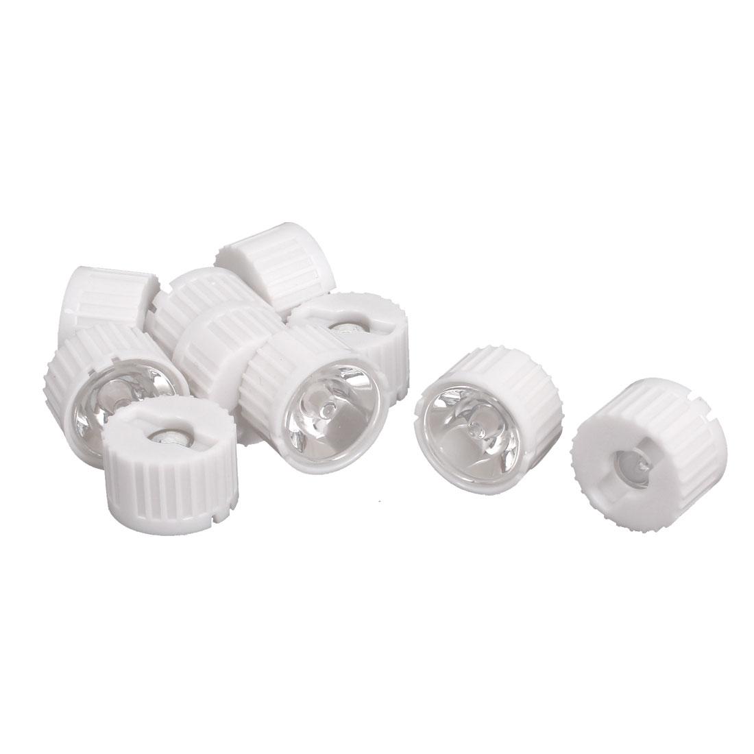 10 Pcs 10 Degree View Angle Condenser Light LED Optical Lens w White Holder