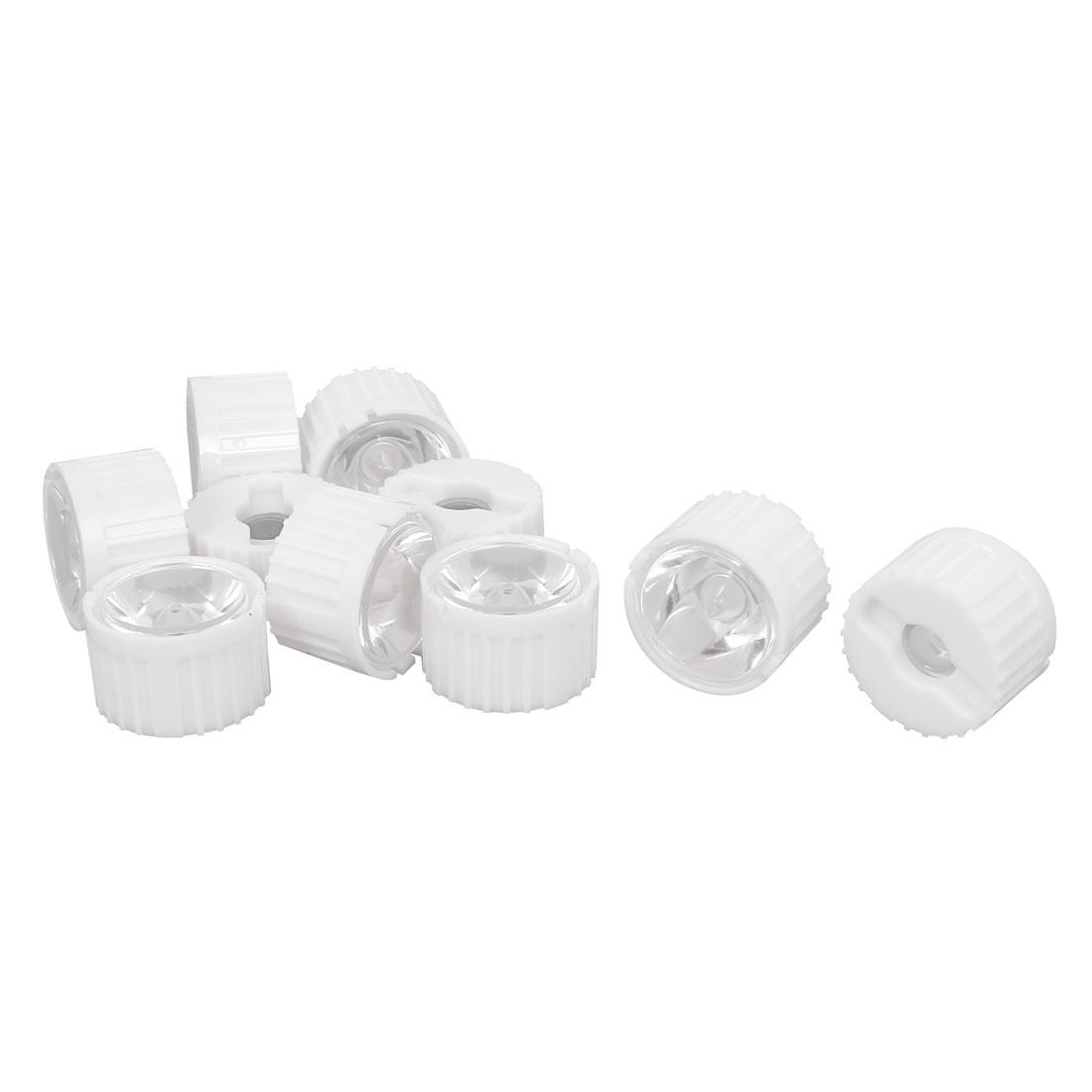 10 Pcs 8 Degree View Angle Condenser Light LED Optical Lens w White Holder