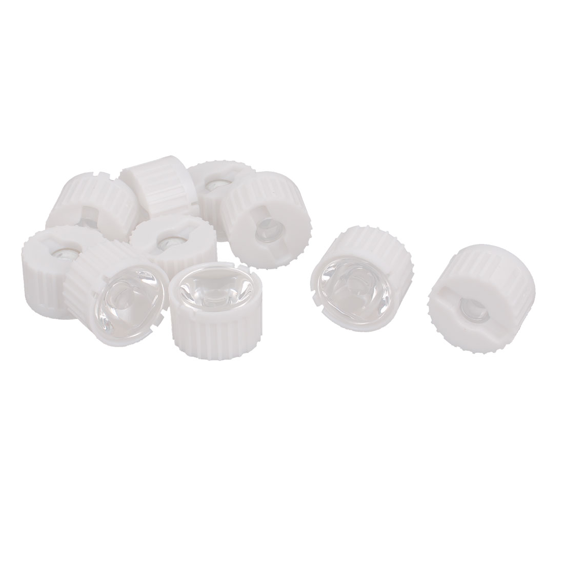 10 Pcs 45 Degree View Angle Condenser Light LED Optical Lens w White Holder