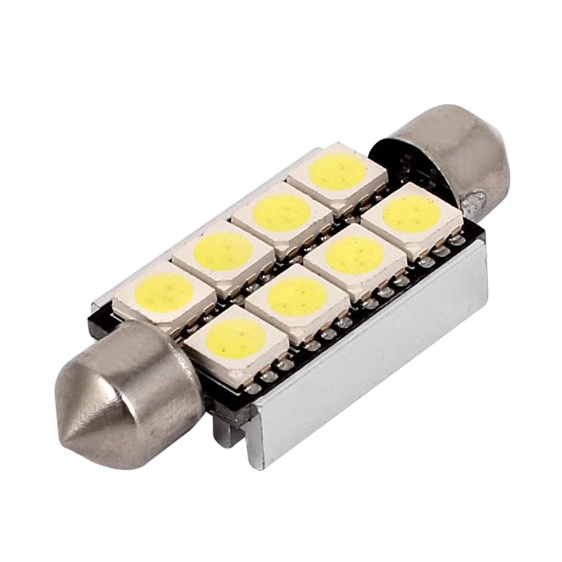 White 41mm 5050 8 LED 2W Festoon Dome Map Interior Light Bulb 569 578