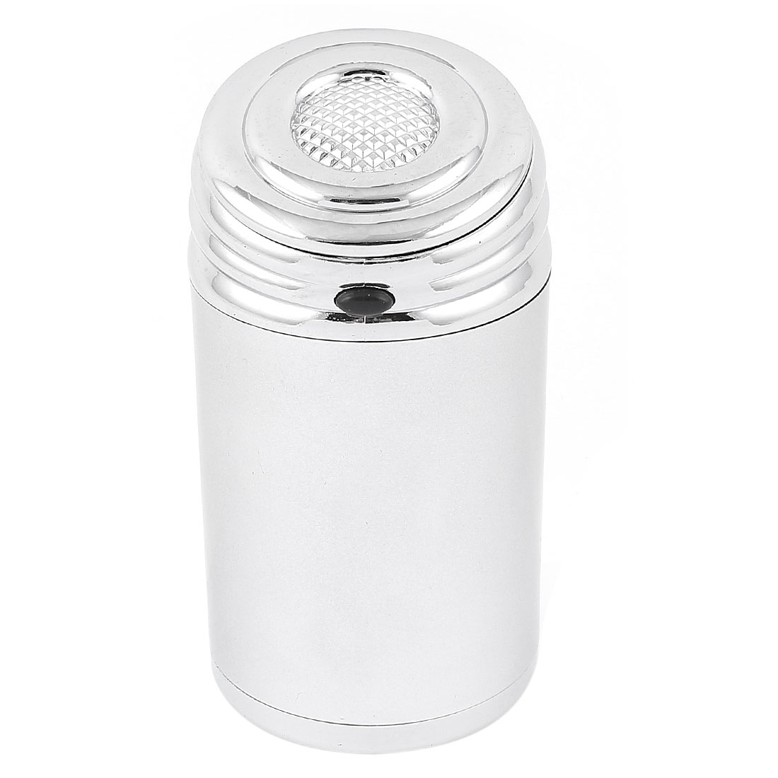 Silver Tone Metal Cylinder Shaped Slant Flap Lid Ash Tray Ashtray for Car Vehicle