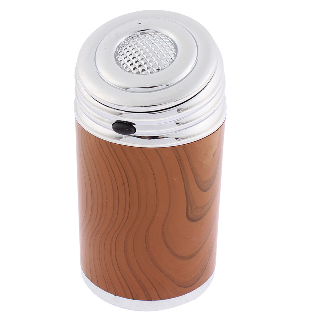 Silver Tone Wooden Color Automatic Button Design Cigarette Ash Holder Ashtray w Blue LED