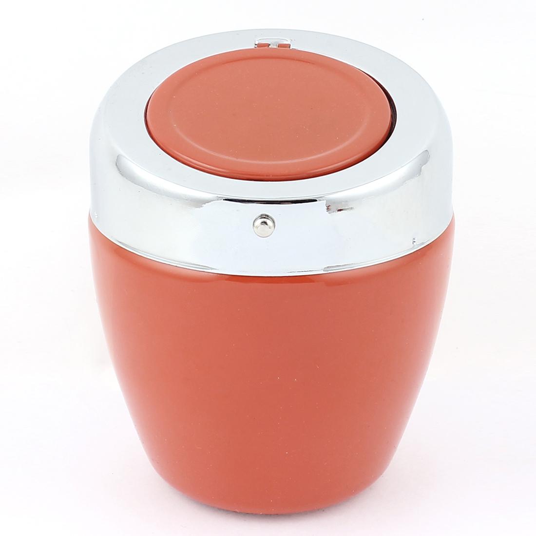 Silver Tone Orange Metal Automatic Button Design Ashtray Ash Holder Case