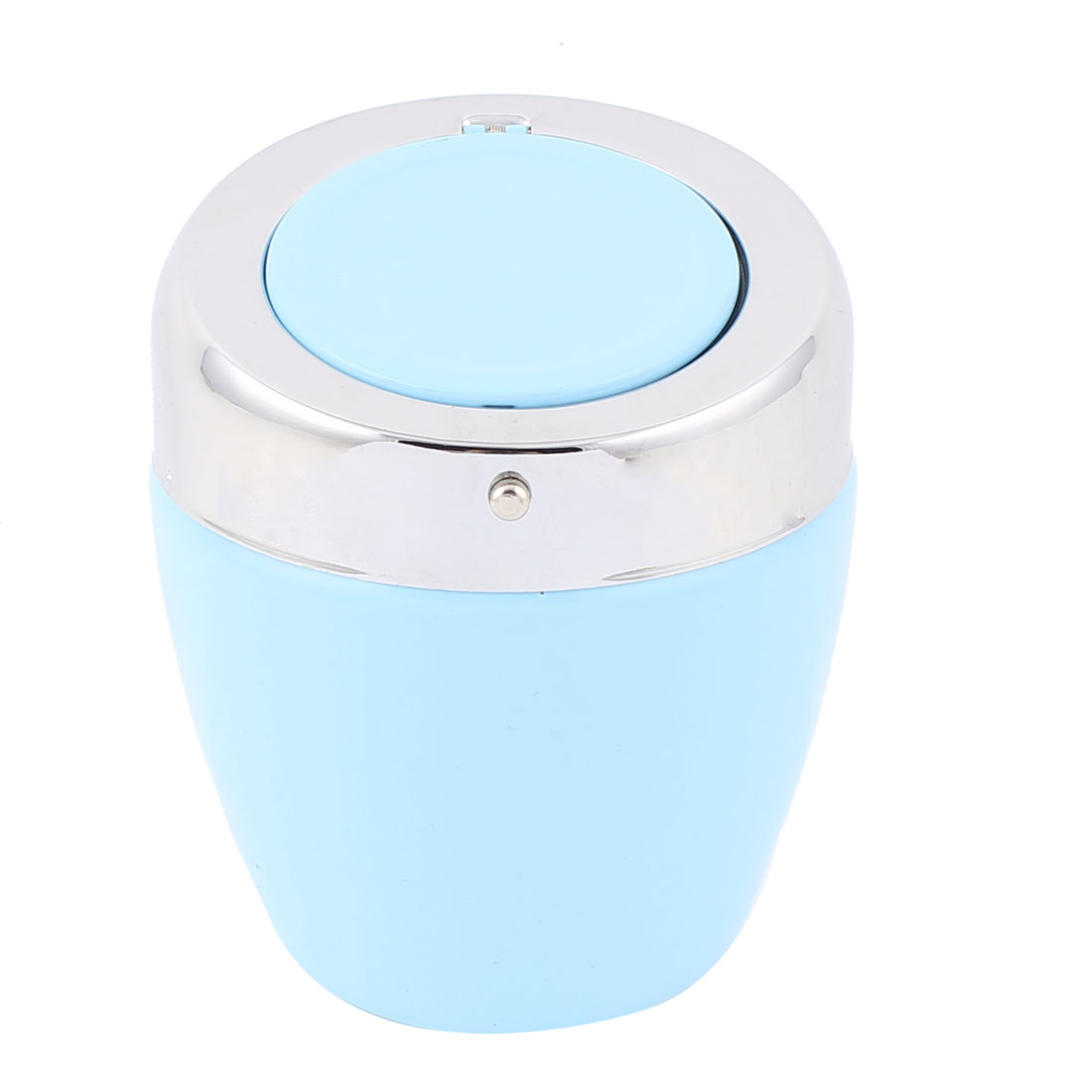 Sliver Tone Blue Metal Automatic Button Design Cigarette Ashtray Holder