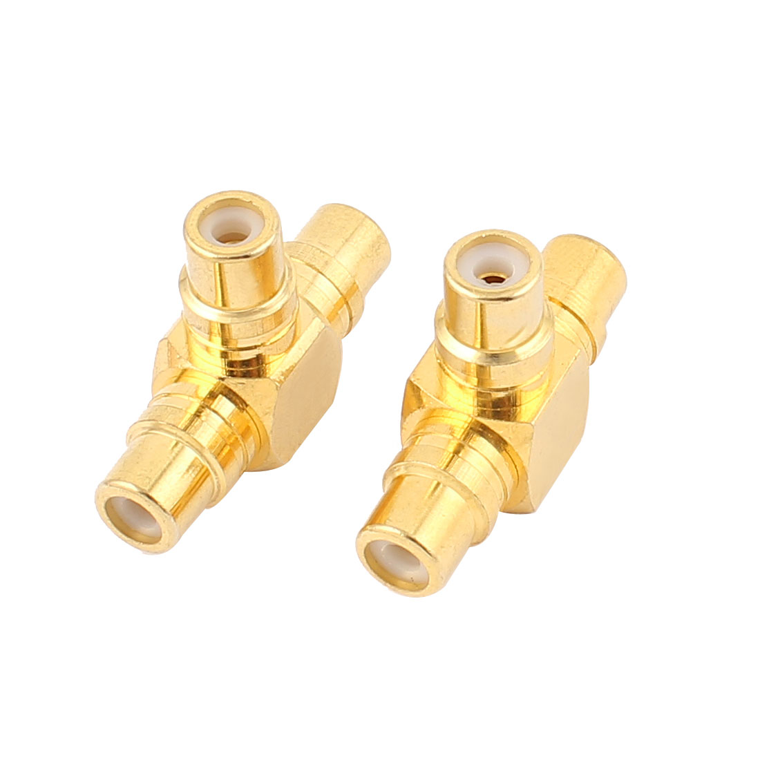2 Pcs 3 Way Female Socket T Shape RCA Coaxial Connector Adapter