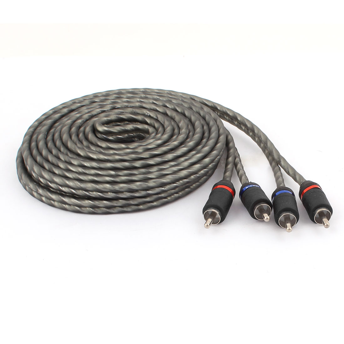 5 Meter 2 RCA Male to Male Connector Video Audio Cable Gray