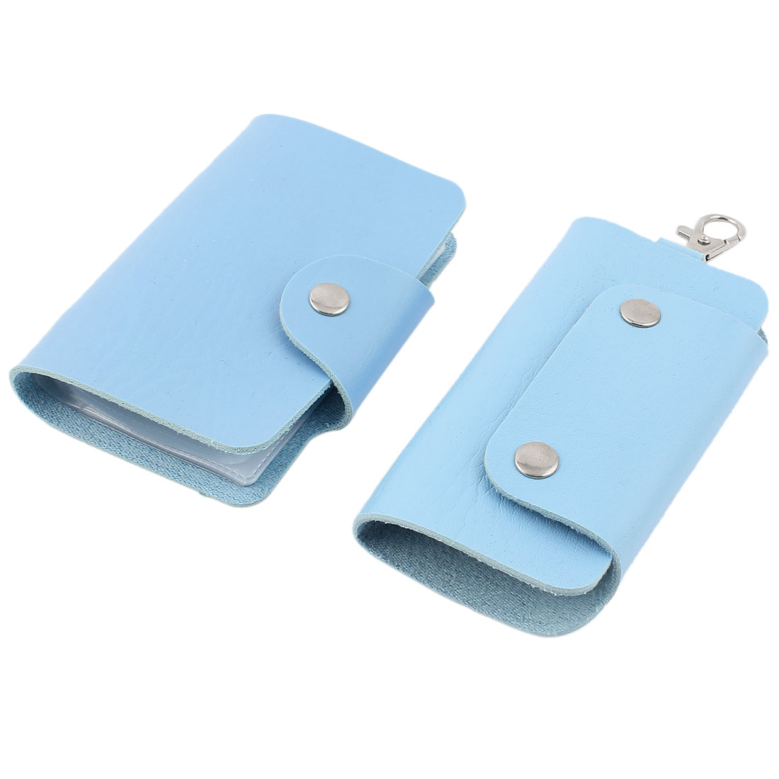2 Pcs Sky Blue Rectangular Faux Leather Cover Car Auto Key Chain Ring Credit VIP Business Card Holder Wallet Case Organizer
