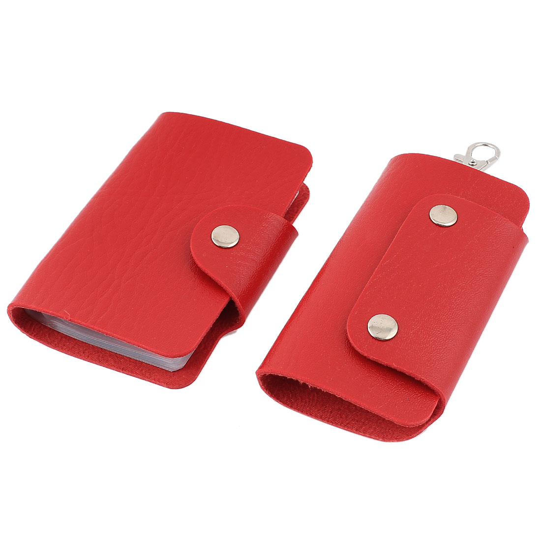 2 Pcs Red Rectangular Faux Leather Cover Car Auto Key Chain Ring Credit VIP Business Card Holder Wallet Case Organizer