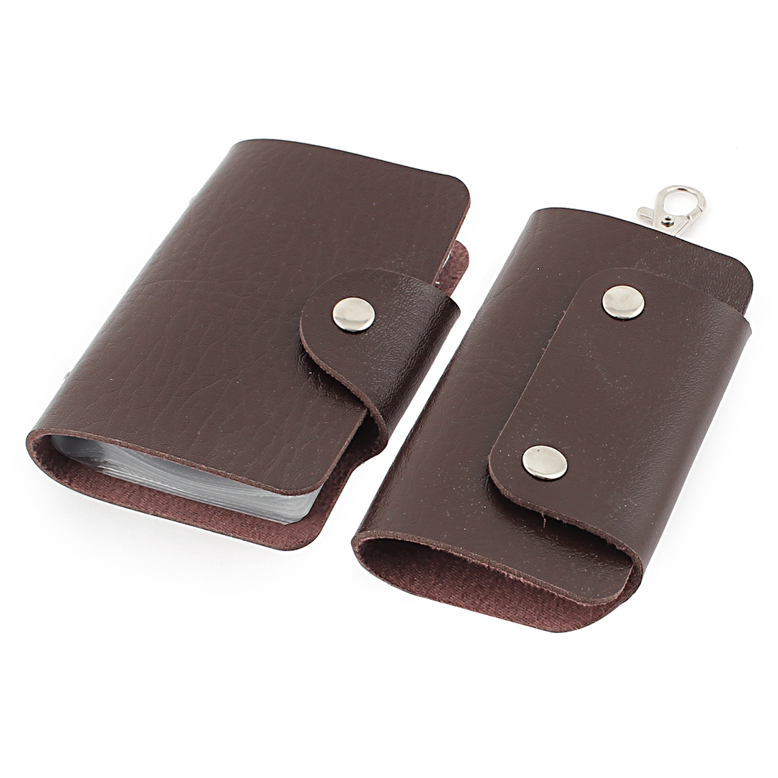 2 Pcs Brown Rectangular Faux Leather Cover Car Auto Key Chain Ring Credit VIP Business Card Holder Wallet Case Organizer