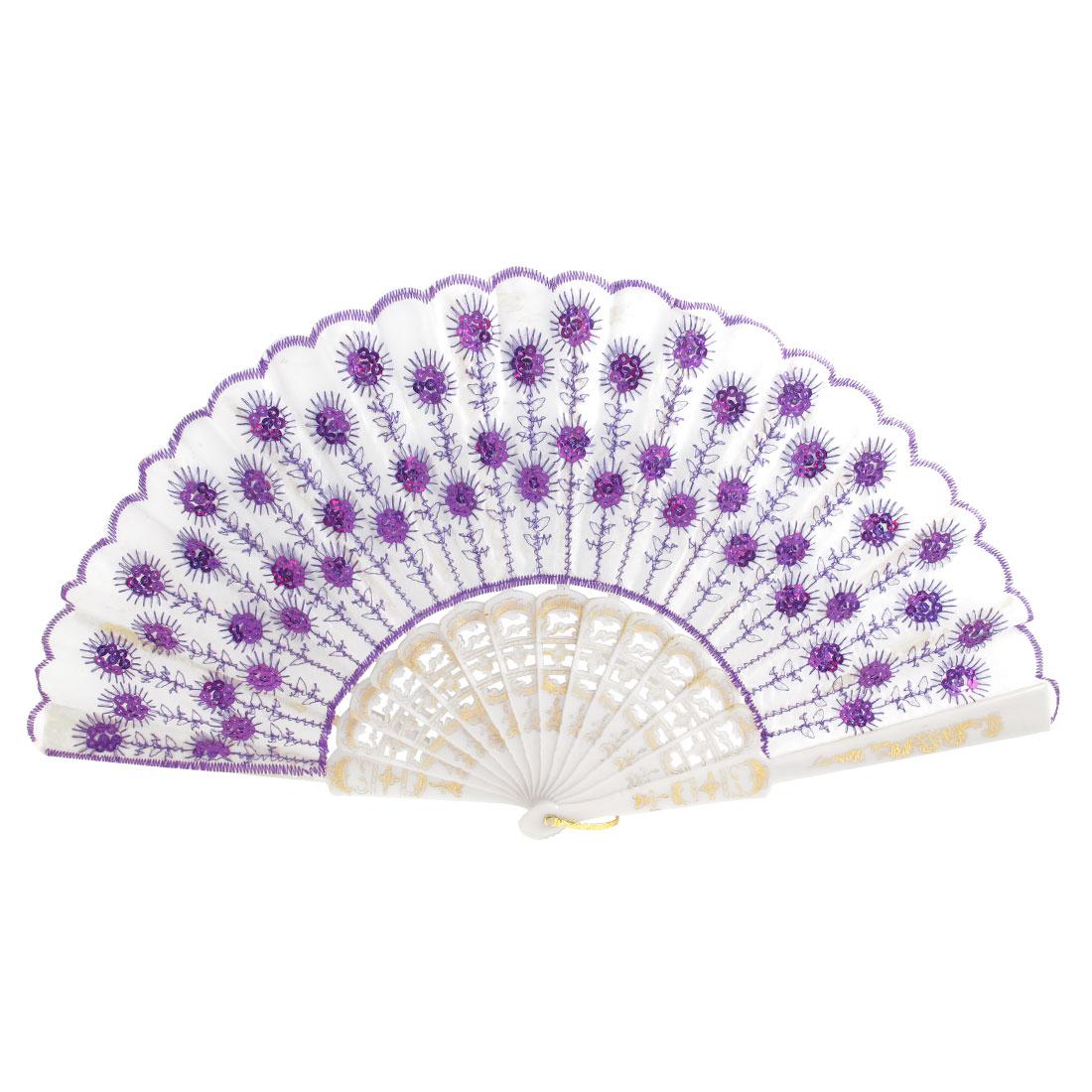 Woman Sequins Decor Floral Rim Summer Folding Hand Fan Purple White