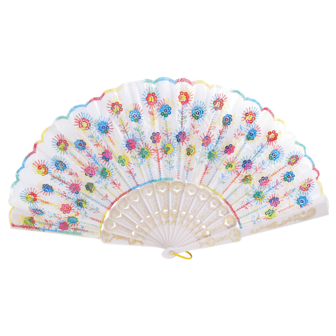Multicolor Sequins Accent Chinese Screen Style Handle Folding Hand Fan for Lady
