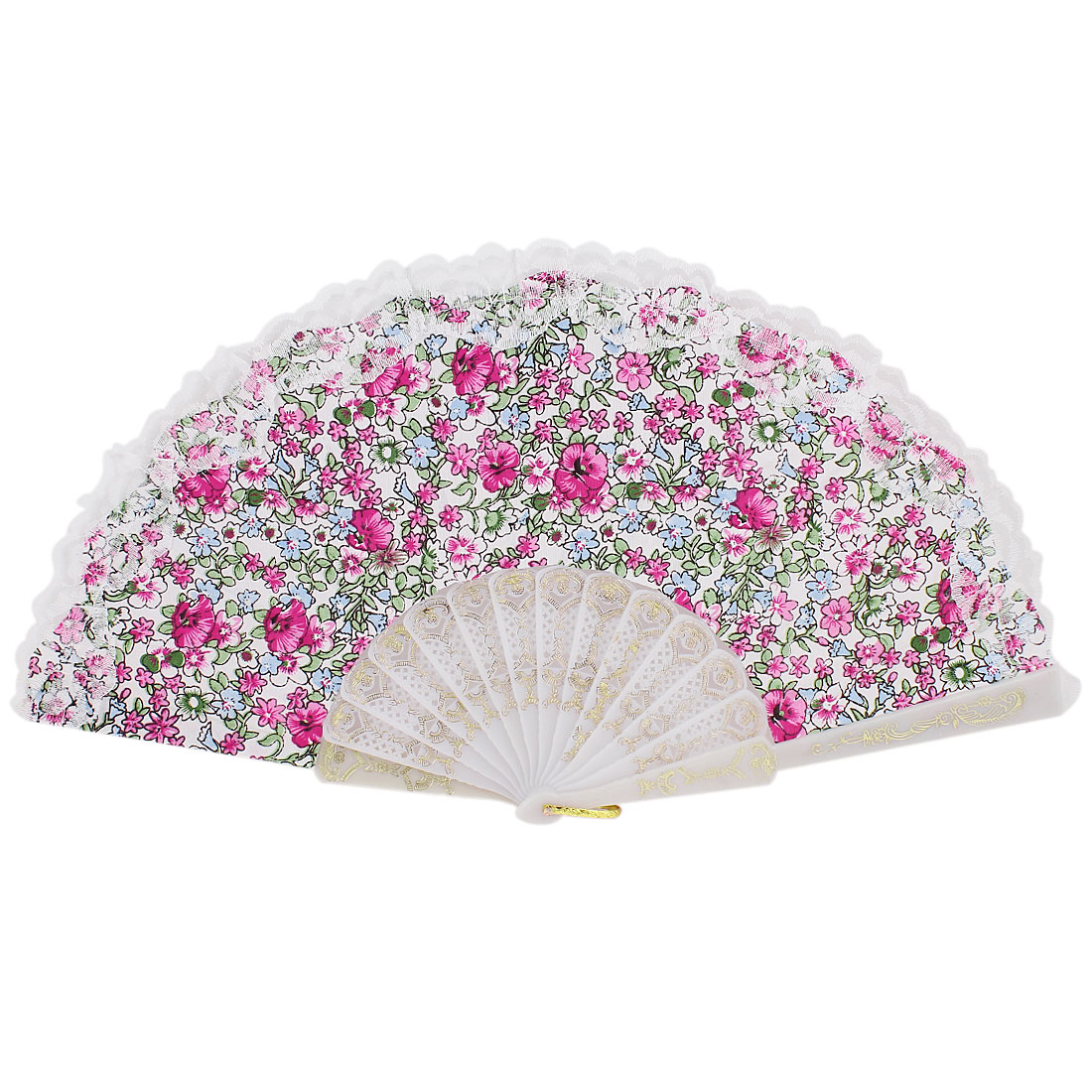 Wedding Party Decor U Ring Hanging Floral Printed Folding Hand Fan Fuchsia