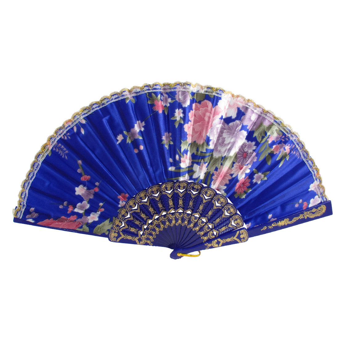 Woman Peony Print Lace Rim Decor Bridals Folded Hand Fan Dark Blue Gold Tone