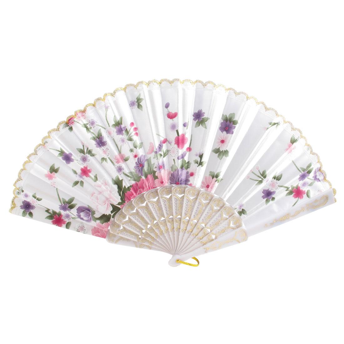 Lady Flower Leaf Pattern Petal Rim Decor Folded Summer Hand Fan Multicolor