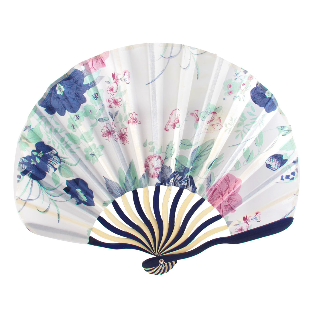 Chinese Style Floral Print Fabric Bamboo Folding Hand Held Dancing Fan White