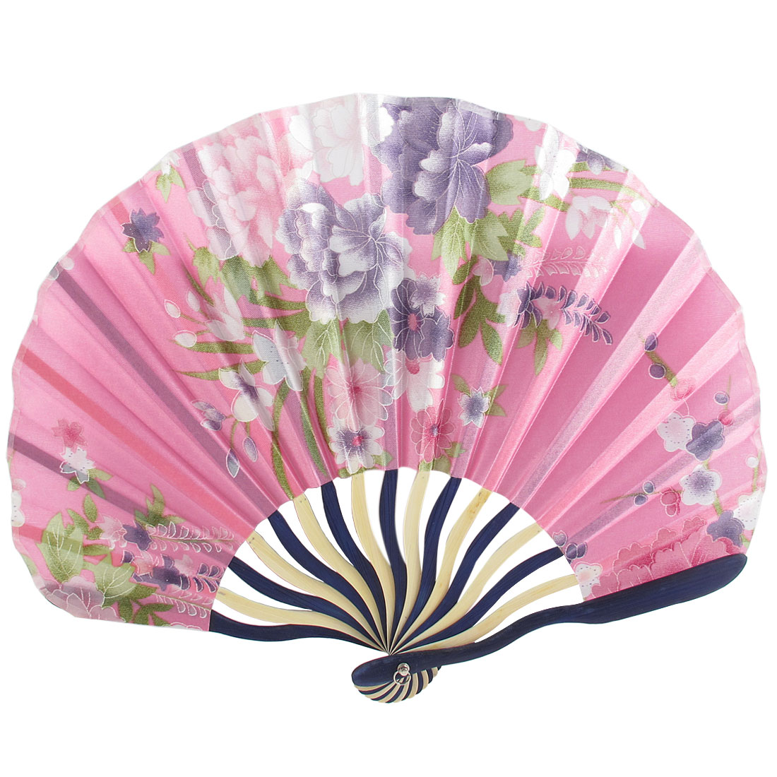 Chinese Japanese Peony Flower Floral Fabric Bamboo Folding Hand Held Fan Pink